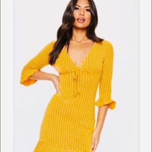 Misguided polka dot yellow dress